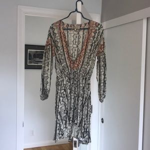 Boho dress with drawstring waist